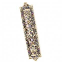 Intricate Mezuzah with Amethyst