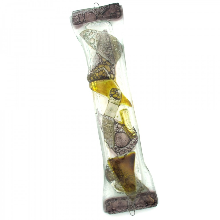Abstract Shapes Glass Mezuzah in Purple and Browns