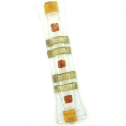 Amber and Gold Stripes and Squares Glass Mezuzah