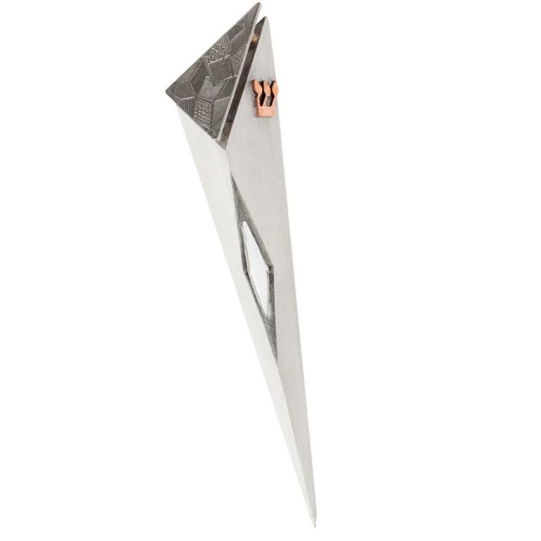 Angular Raised Top Mezuzah with Window in Patchwork Texture