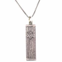 Antique Column Sterling Silver Mezuzah Pendant