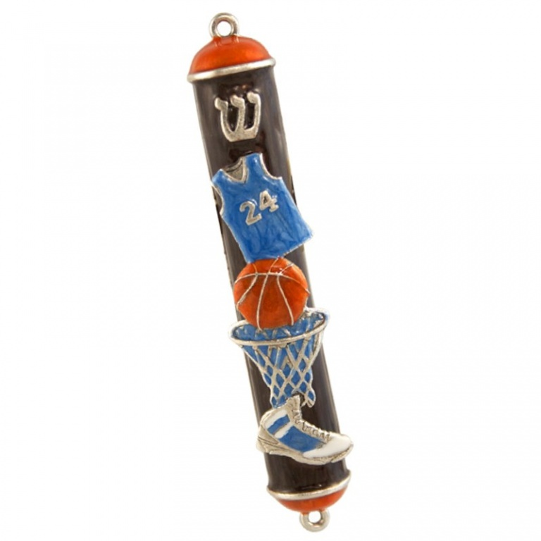 Basketball Mezuzah Enameled