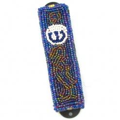 Beads Mezuzah in Blue