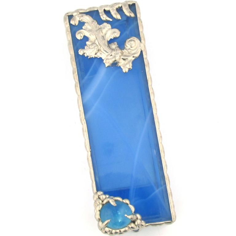 Blue Marbled Glass and Metal Embellished Mezuzah case