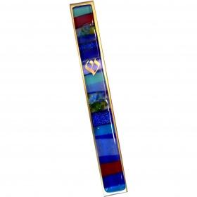 Blue Mosaic Kabbalah Mezuzah - Large