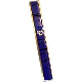 Blue Striped Kabbalah Mezuzah - Large