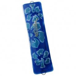 Blue and Aqua Flowers Mezuzah
