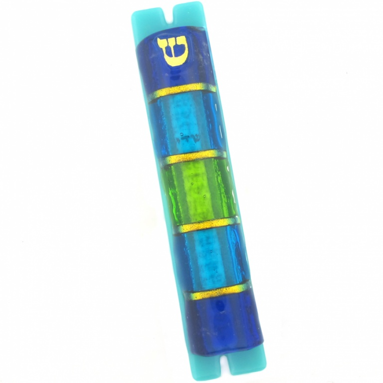 Blue and Gold Stripes Mezuzah