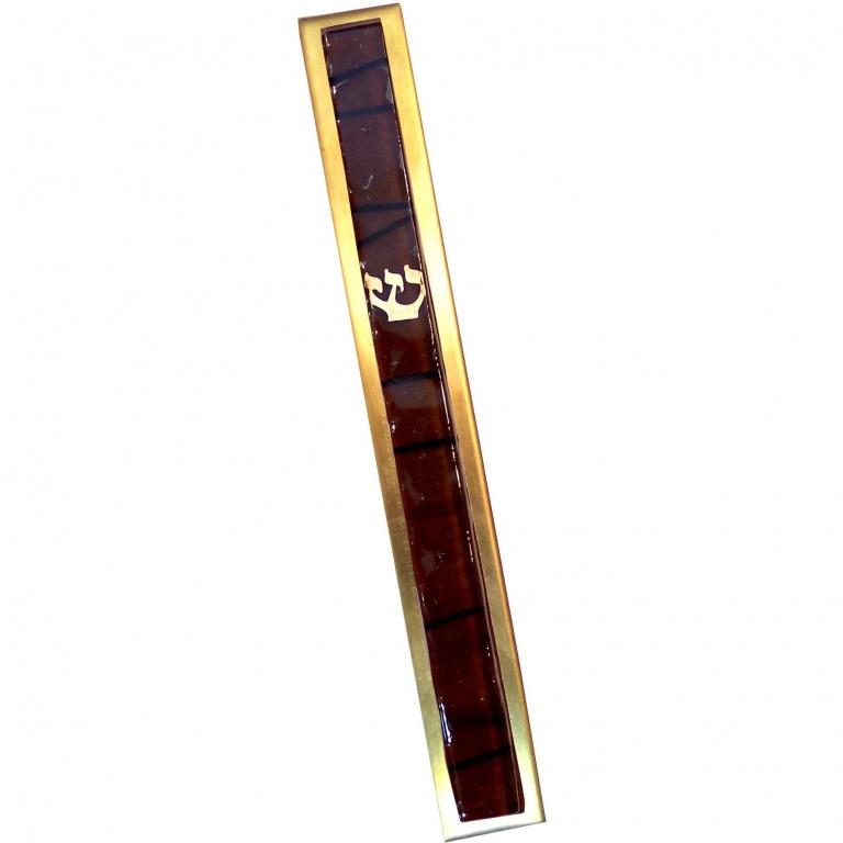 Brown Striped Kabbalah Mezuzah - Large