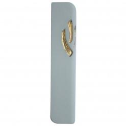 Ceramic Mezuzah in Light Turquoise with 24k Gold Medium