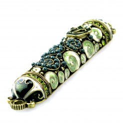 Crystal and Pearl Mezuzah in Green