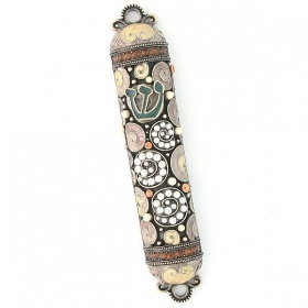 Crystal and Pearl Mezuzah in Topaz