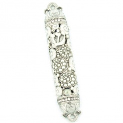 Crystal and Pearl Mezuzah in White
