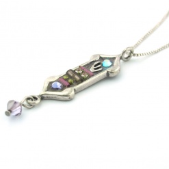 Enamel and Jewels Lavender Mezuzah Pendant with Chain