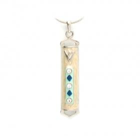 Enameled Beige Mezuzah Necklace Pendant with Crystals