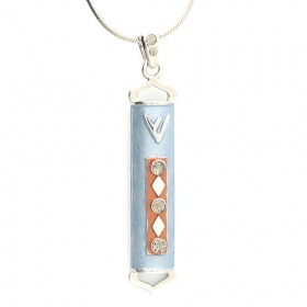 Enameled Blue Mezuzah Necklace Pendant with Crystals