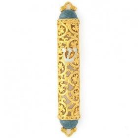 Filigree Mezuzah in Gold