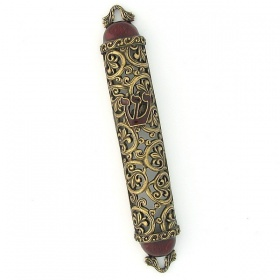 Filigree Mezuzah in Maroon
