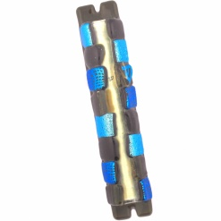 Glass Squares Mezuzah in Blue and Amber
