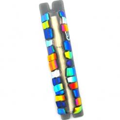 Glass Squares Mezuzah in Multicolor