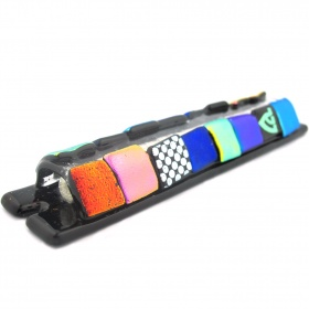 Glass Squares Mezuzah with Polka Dot Accent