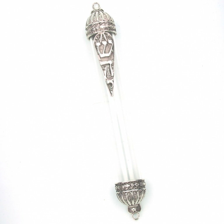 Glass Tube with Sterling Silver Filigree Mezuzah