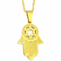 Gold Hamsa and Jewish Star Necklace