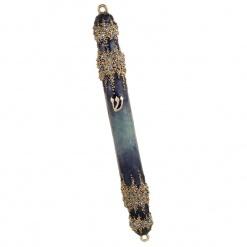 Granular Crystal  Mezuzah in Blue - Large