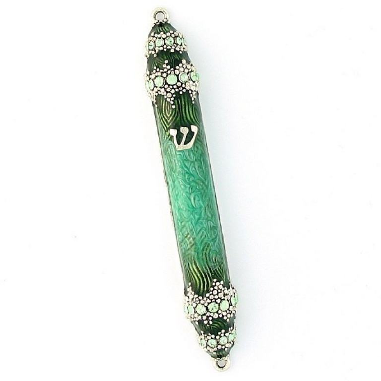 Granular Crystal Mezuzah in Green - Small