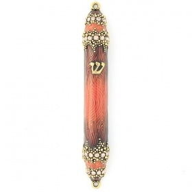 Granular Crystal Mezuzah  in Rust Orange - Small