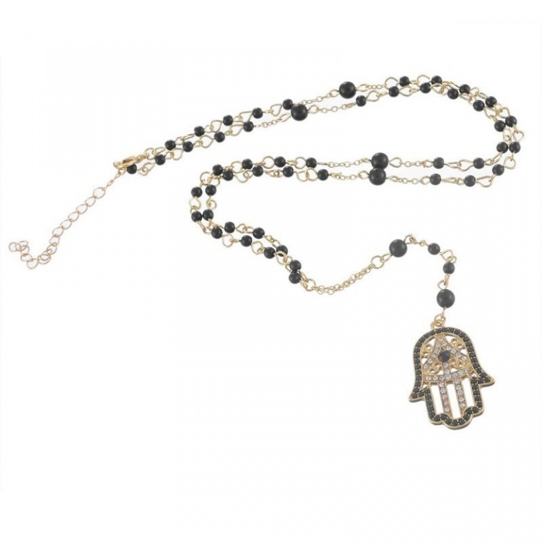 Hamsa and Hand Pendant Necklace with Black Beads