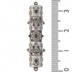 Intricate Scroll Mezuzah with Garnet