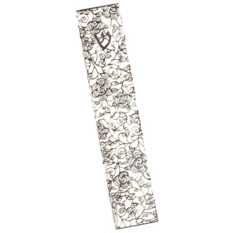 Metal Lace Flower Pattern Large Mezuzah