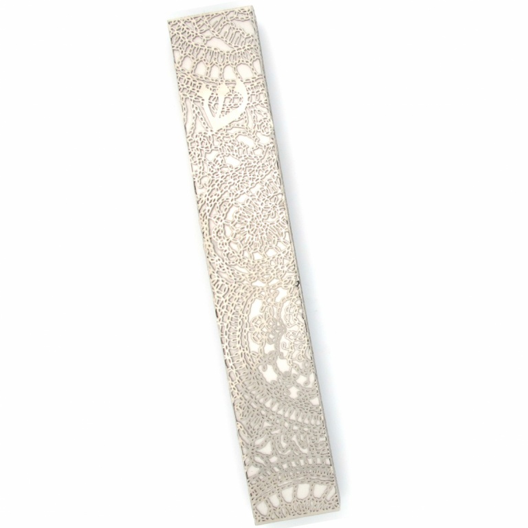 Metal Lace Ornamented Extra Large Mezuzah