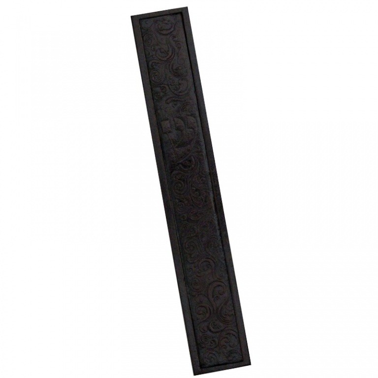 Mezuzah with Ornamented Patterned Leather - Large