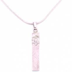 Patterned Sterling Silver Rectangular Mezuzah Pendant
