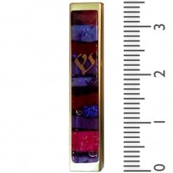 Purple Mosaic Kabbalah Mezuzah - Small