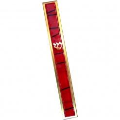 Red Striped Kabbalah Mezuzah - Large