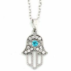 Silver Hamsa Necklace with Gemstones