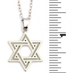Star of David Silver Tone Pendant Necklace