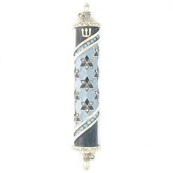 Stars of David Mezuzah in Blue