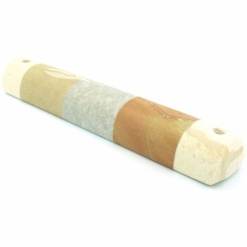 Striped Marble Mezuzah Small - Orange and Grey
