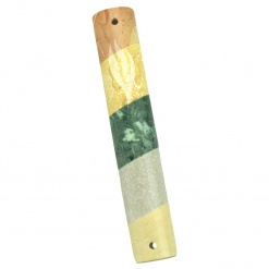 Striped Marble Mezuzah in Natural Colors - Large