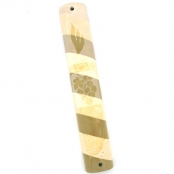 Striped Marble Mezuzah with Grapes Design - Extra Large