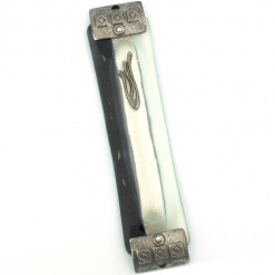 Vertical Stripe Mezuzah With Silver Ends